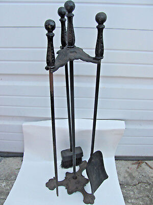 Classical Urn Cast Iron Nickel Fireplace Tools Set • CAD