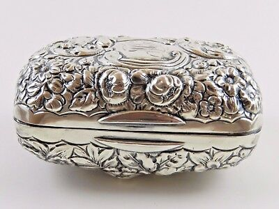 Fine Gorham Sterling Silver Floral Repousse Travel Dopp Kit Soap Box