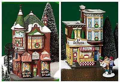 Department 56 Christmas in the City Lot of 2 Jennys Book Shop DeFazio's Pizzera