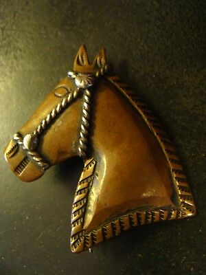 Beautiful Old Navajo Copper  Silver Horse Pin Silver Bridle Stamped Repousse EXC
