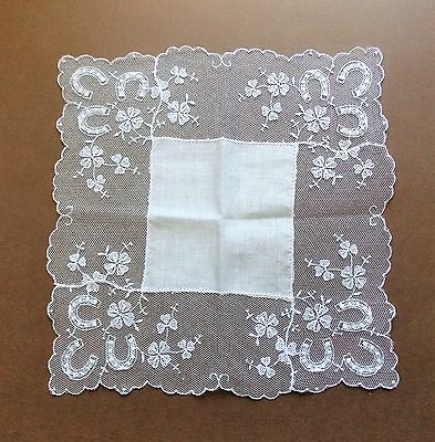 Immaculate Vintage 1950s White Cotton & Lace Women's Handkerchief