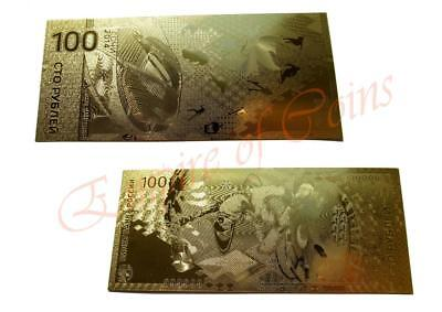 100 Rubles 2014 Sochi Olympic Games Russia gold foil banknote Free shipping