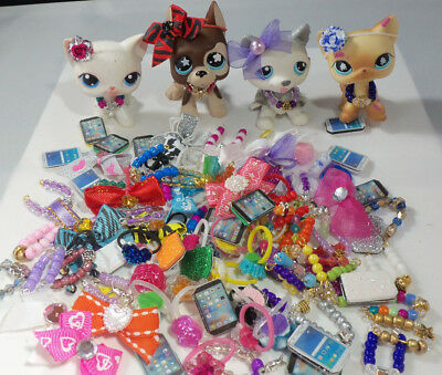Littlest Pet Shop LPS  Accessories Custom Lot: Necklace Bow Cell Phone  Earrings
