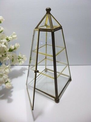 "Beautiful Vintage 9 1/2"" GLASS & BRASS PYRAMID Shape DISPLAY CURIO CABINET"