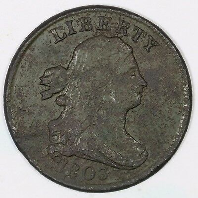 1803 C-2 R-4 LDS Draped Bust Half Cent Coin 1/2c
