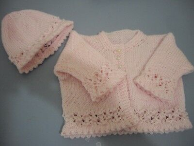 Handknitted baby matinee jacket & Beanie to match