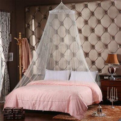 White Decorative Mosquito Fly Canopy Net Bed Netting For Single Double King Size