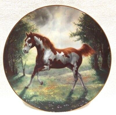 Painted Sunrise Horse Plate By Chuck DeHaan With COA Running Paint Horse