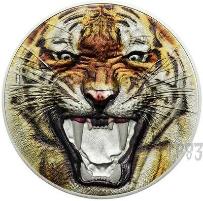 2017 2 Oz PROOF Silver BENGAL TIGER Wildlife Coin..