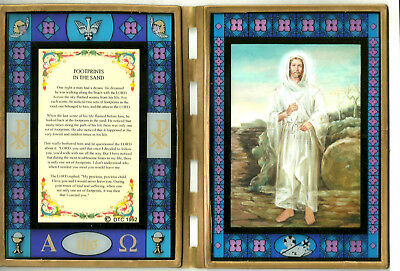 """Footprints in the Sand / Jesus Stained Glass Prayer Plaque 10"""" x 14"""" open"""