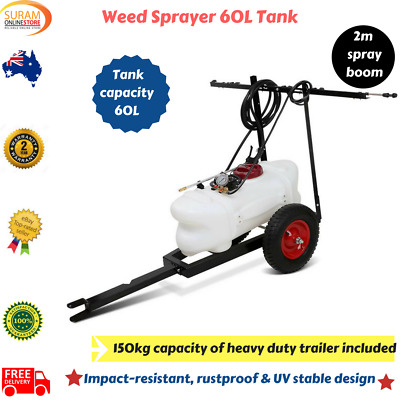 New 60 L Weed Sprayer with Trailer 12 V Pump Tank Chemical Boom Spray Spot Wand