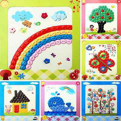 1Pcs DIY Buttons Puzzles Kids Baby Toys Interactive Paste Picture Children Gift