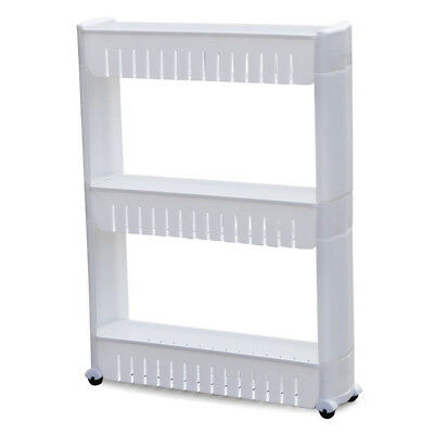 3 Tier Slide Out Storage Tower in Bathroom With Wheels J3L4