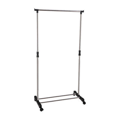 IKAYAA Adjustable Castor Wheels Rolling Garment Rack Rail Clothes Hanger AD F2G6