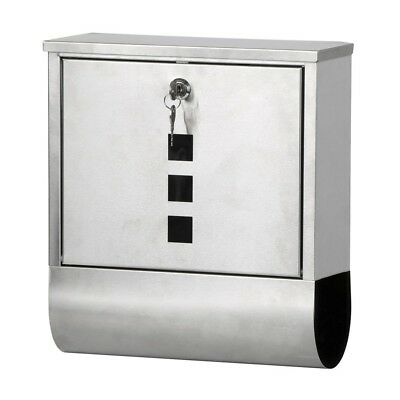Waterproof Stainless Steel Lockable Mailbox Newspaper Holder Outdoor Mail P M6Q5