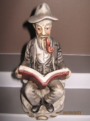 Ceramic figurine old man  no2 sitting reading size 140 to 185 mm ex/cond