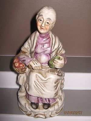 Ceramic figurine no1 old woman sitting with food size 140 to 180 mm ex/cond
