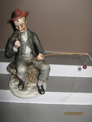 Ceramic figurine old man sitting fishing size 200 mm in height/heavy ex/cond