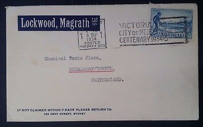 Scarce 1934 Australia Commercial cover ties 3d Blue Cent Victoria Stamp to Switz