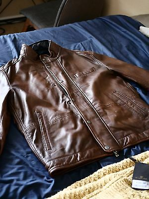New with Tags - GORGEOUS Brown Nappa Leather Jacket by Massimo Dutti, size L