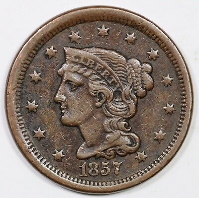 1857 Small Date Braided Hair Large Cent Coin 1c