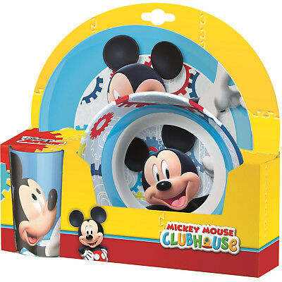 Mickey Mouse | Clubhouse Blue Melamine Tumbler, Bowl & Plate Mealtime Set