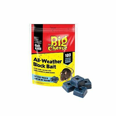 Big Cheese All-Weather Rat Mouse killer Block Bait pack 100 Block - FREE P&P