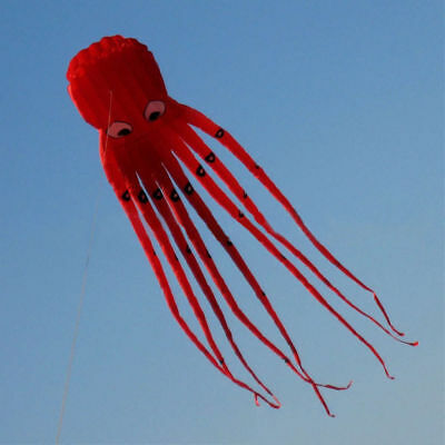 8m 26ft 1 Line Stunt Fabric Octopus Kite Outdoor Toy Children's Gift Color Red