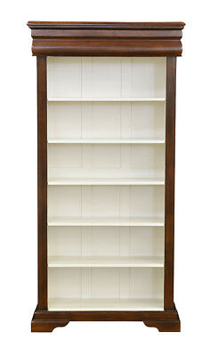 Versailles Elise Bookcase 5 Shelf and Recessed Drawer - Chestnut & Ivory