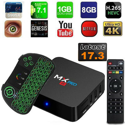 MX PRO 4K Android 7.1 S905X Quad Core 8GB 17.3 WiFi FOR Smart TV Box + Keyboard