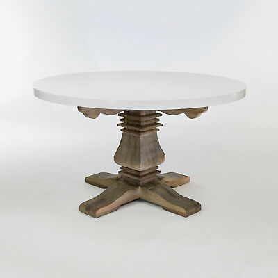 eGB401 - French Style Refectory Round Dining Table with Marble Top and Elm Base