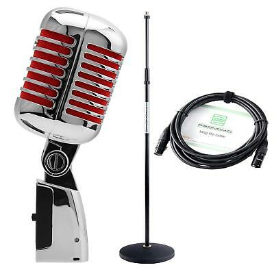 Microphone Dynamic DJ PA Micro Elvis Rockabilly Rock n Roll Set Support Cable