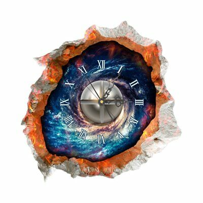 DIY 3D Art Wall Clock Decals Starry Sky Wall Hole Clock Sticker Office Home N3G8