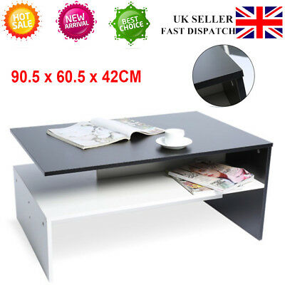 Modern Design Square White Black Coffee Table with Storage Shelf Home Office UK