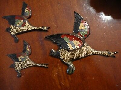 Hand Enamelled Brass Wall Ducks Geese Birds - Rare Vintage