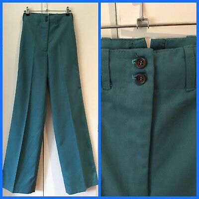 VINTAGE 60's 70's Teal Blue SUPER HIGH WAIST Slacks FLARE PANTS Merivale 10