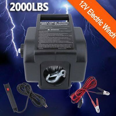 2000LBS/907KGS 12V Steel Rope Electric Winch 4WD ATV BOAT TRUCK Trailer ON