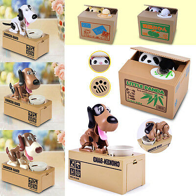 Panda Stealing Coin Money Cat Kitty Penny Cents Piggy Bank Saving Box Kids Gift