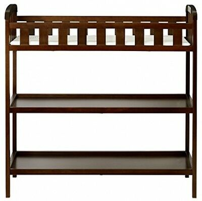 Baby Changing Table w/ Pad and Strap Safety Rail w/ Bottom Shelves Dark Cherry