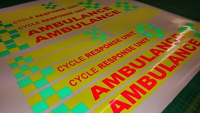 Ambulance Cycle Response Paramedic decals stickers reflective fluorescent safety