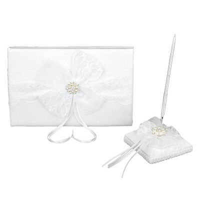 Lace Guestbook Pen Pen Holder for Wedding - White I8K0