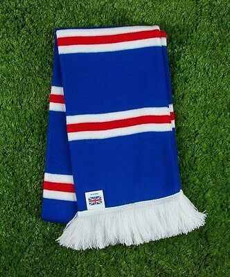 Rangers Colours Retro Bar Scarf - Royal, Red & White - Made in UK