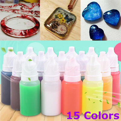 15ml Mix Epoxy UV Resin Coloring Dye Colorant Pigment DIY Art Crafts 15 Colors