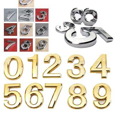 Door Numbers Door Letters Chromed ABS Self Adhesive Digit Numeral Wall Plaques