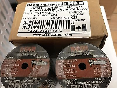 "Box of 50, Keen 2"" X 1/16"" X 1/4"" METAL STAINLESS CUT OFF WHEELS #13223"