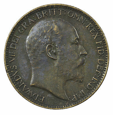 Great Britain, Edward Vii Farthing, Ef, 1908