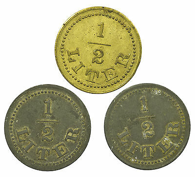 Token, 1/2 Litre, Milk, British, 3 Coins, 20Th Century