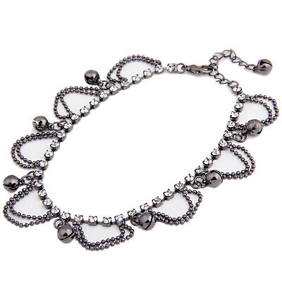 Black Crystal Dangle Bells Chain Anklet Ankle Bracelet HOT F3C0
