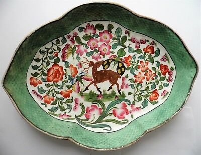 Antique Chinese Export Hand Painted Butterfly Flowers & Deer Porcelain Dish