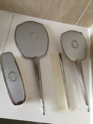 Vintage Silver 4 Piece Vanity Dressing Table Set Mirror, Comb & 2 Brushes